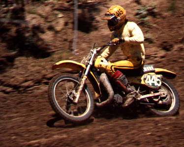 "1980 USGP at Carlsbad, 250cc Support Class. Yamaha Support, YZ250G. I was testing a Moto-X-Fox dual chamber air mono-shock and I think I had the air pressure a little low. Although the low pressure worked well over the sharp ""curbed"" hard pack of the Carlsbad track."
